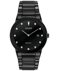 Citizen Men's Eco Drive Axiom Diamond Accent Black Ion Plated Stainless Steel Bracelet Watch 40Mm Au1065 58G