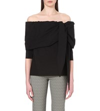 Isa Arfen Off The Shoulder Stretch Cotton Top Black