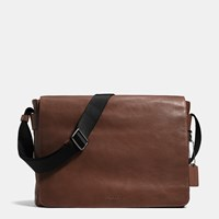Coach Metropolitan Courier In Sport Calf Leather Black Antique Nickel Mahogany