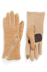 Echo Women's 'Touch Zip Boucle' Tech Gloves Camel