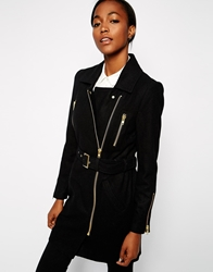 Gestuz Trench Coat With Gold Zips Black