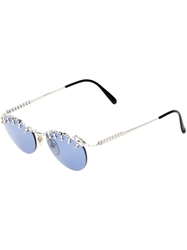 Jean Paul Gaultier Vintage Almond Frame Sunglasses Metallic