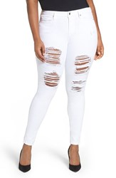 Good American Plus Size Women's Legs Destroyed Skinny Jeans White 002