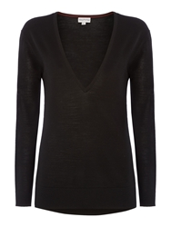 Mary Portas Alex Deep V Neck Merino Knit Black