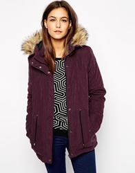 Only Faux Fur Hooded Parka Wine