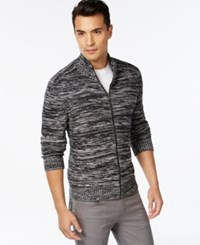 Inc International Concepts Jackson Full Zip Marled Sweater Only At Macy's Deep Black Combo