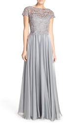 Women's La Femme Embellished Lace And Satin Ballgown