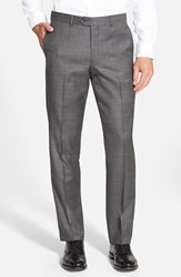 Men's Nordstrom Flat Front Solid Wool Trousers Grey