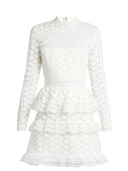 Self Portrait High Neck Star Lace Tiered Mini Dress White
