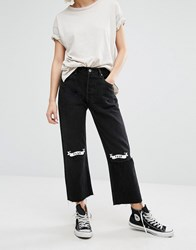 Reclaimed Vintage Ripped Knee Jeans With Love Hate Black