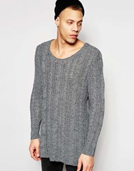 Asos Longline Cable Knit Scoop Neck Jumper With Open Mesh Black And White Twist Grey