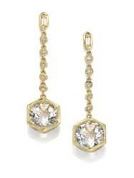 Ila Siya White Sapphire White Topaz Diamond Sterling Silver And 14K Yellow Gold Drop Earrings