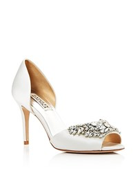 Badgley Mischka Candance Embellished D'orsay High Heel Pumps White