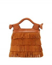 Foley Corinna Sasha Tiny City Suede Fringe Bag Honey Brow
