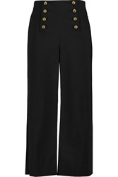Rebecca Minkoff Stretch Cotton Twill Wide Leg Pants Black