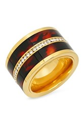 Simulated Tortoise Shell And Channel Set Simulated Diamond Ring Metallic