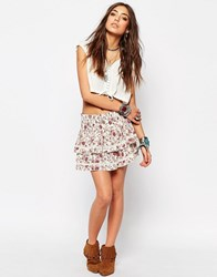 Denim And Supply Ralph Lauren By Layer Mini Festival Skirt With Floral Print Multi