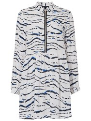 French Connection Tapir Wave Shirt Dress Summer White Multi