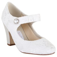 Rainbow Club Betty Satin And Lace Strap Court Shoes Ivory