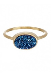 Rivka Friedman 18K Gold Clad East West Electric Blue Druzy Oval Ring