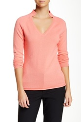 Lafayette 148 New York Framed V Neck Cashmere Sweater Pink