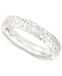 Macy's Textured Band In 14K White Gold