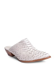 Matisse Clover Snake Print Leather Mules Ivory