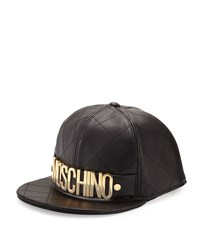 Moschino Men's Golden Logo Quilted Leather Flat Bill Hat Black