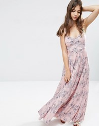 Asos Cami Pleat Maxi Dress In Pink And Blue Floral Print Multi