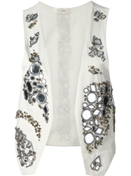 Dondup Mirror And Glass Embellished Waistcoat Nude And Neutrals