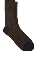 Barneys New York Men's Tipped Cuff Stockinette Stitched Mid Calf Socks Brown Navy Brown Navy