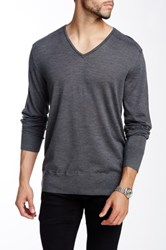 John Varvatos V Neck Wool Sweater Gray