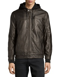 Marc New York By Andrew Marc Hooded Leather Moto Jacket Large