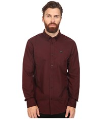 Rvca That'll Do Oxford L S Tawny Port Men's Long Sleeve Button Up Red