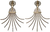Lanvin Gold Palm Clip On Earrings