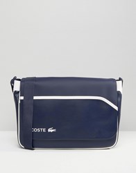 Lacoste Leather Look Messenger Bag In Colour Block Navy