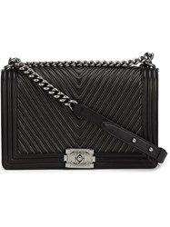 Chanel Vintage Medium Quilted Chevron Shoulder Bag Black