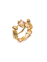 Alexander Mcqueen Double Skeleton Topaz And Gold Tone Ring