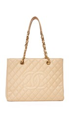 Wgaca Chanel Cc Quilted Tote Previously Owned Beige