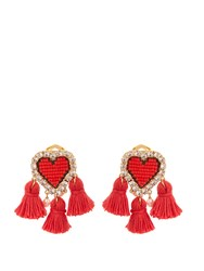 Shourouk Pompon Heart Clip On Earrings Red Multi