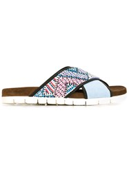 Msgm Crossover Strap Beaded Sandals Blue