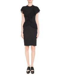 Givenchy Pleated Flutter Sleeve Dress Black
