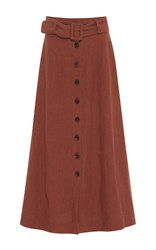 Sea Button Front A Line Midi Skirt Brown