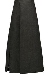 Marni Wrap Effect Herringbone Wool Blend Midi Skirt Anthracite