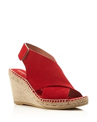 Kenneth Cole Quin Suede Espadrille Wedge Sandals Tomato