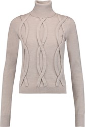 8 Cable Knit Wool Turtleneck Sweater Taupe