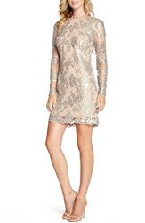Women's Dress The Population 'Grace' Sequin Lace Long Sleeve Shift Dress Silver Nude