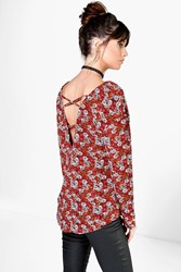Boohoo Floral Print Cross Back Detail Blouse Multi