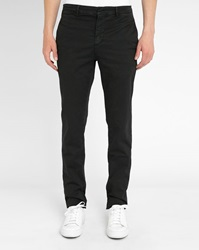 M.Studio Plain Black Dimitri Cotton Fitted Chinos