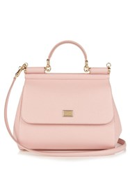 Dolce And Gabbana Sicily Small Leather Tote Light Pink